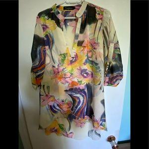 Multicoloured Sheer Blouse 3/4 Sleeve